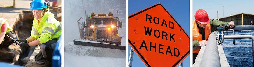 Collage of public works activities: monitoring gas main, snow plow, road work sign, water treatment testing