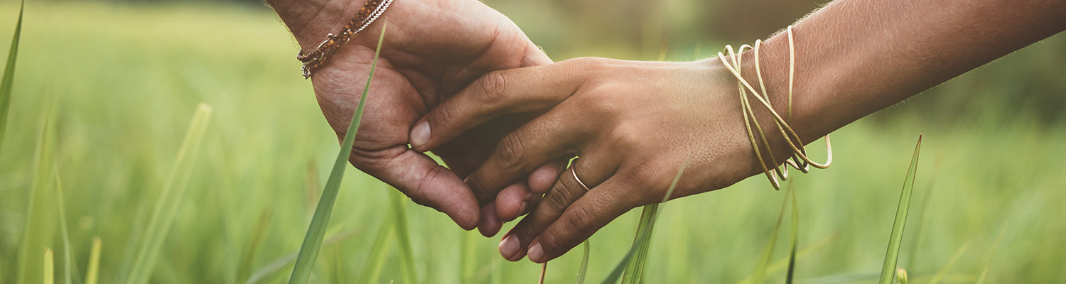 Two hands holding in a field, Human Sexuality header