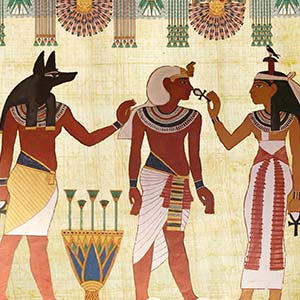 Ancient Egyptian picture of three figures