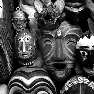 image of wooden masks