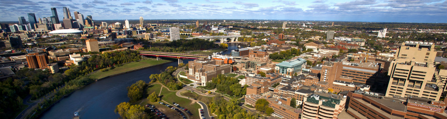 aerial view of U of M campus, Mississippi River and Minneapolis skyline