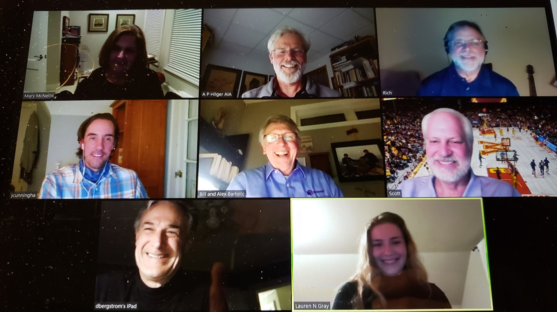 staff and students faces on a zoom call