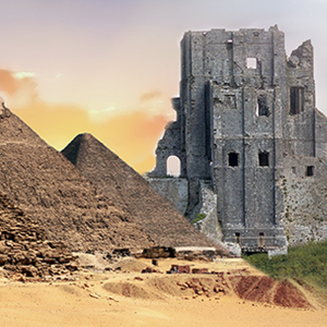 image of collage of pyramids and castle ruins
