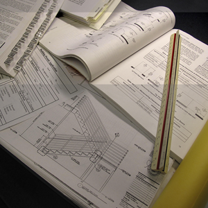 image of construction plans and documents