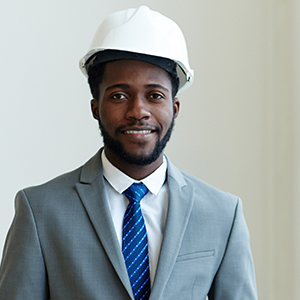 man in a suit and a hard hat