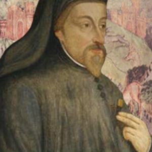image of Geoffrey Chaucer and old English text