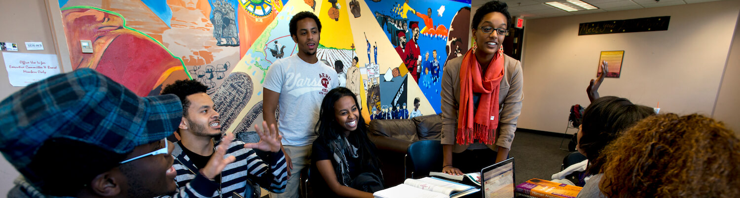 Students in multicultural center for academic excellence