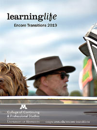 Cover of Encore Transitions 2019 brochure, man in convertible with dog passenger