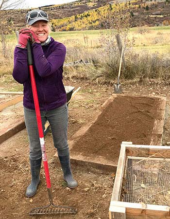 Emily Tepe with raised beds