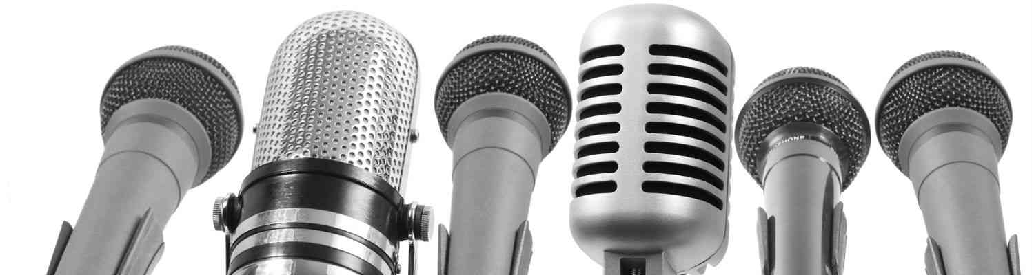 a variety of microphones (black and white image)