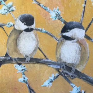 Fresco painting of chickadees on a flowering branch