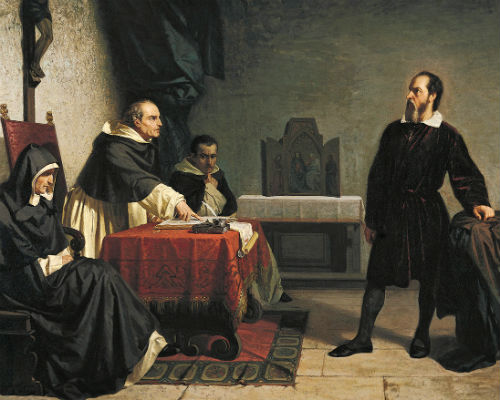 Painting of Galileo on Trial