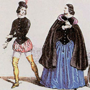 The Duke and Gilda costumes published by Casa Ricordi in 1851.