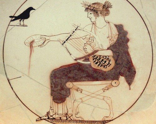 Drawing of Apollo tempting a black bird