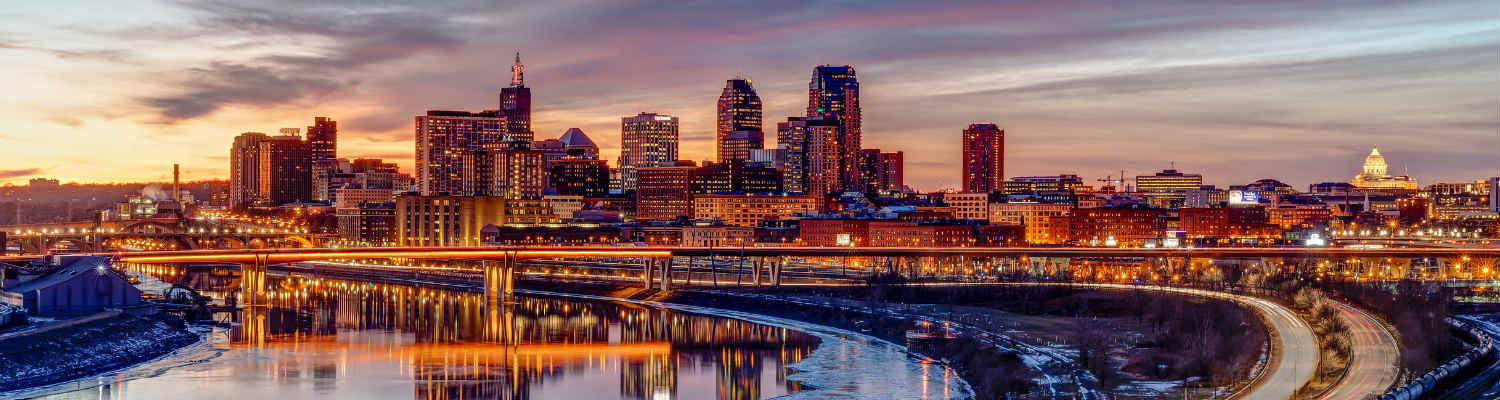 Downtown Saint Paul skyline viewed from the east looking across the Mississippi Riverat dusk