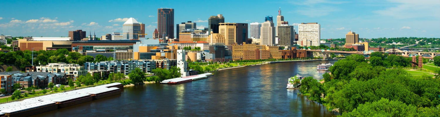Saint Paul, MN skyline and Mississippi River