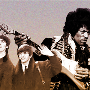 MUS 1013 card image collage of the Beatles and Jimi Hendrix