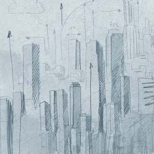 Pencil sketch of skyscrapers with clouds