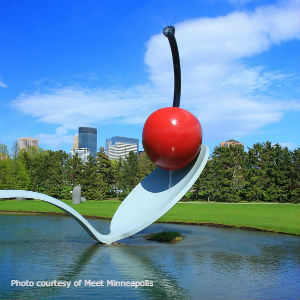 Spoon Bridge and Cherry Sculpture