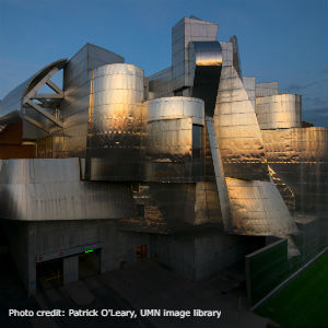 Weisman Art Museum reflecting sunset