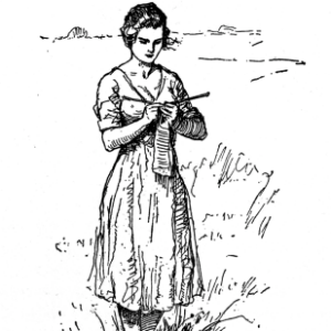 Stylized ink drawing of a young woman knitting in an open field.