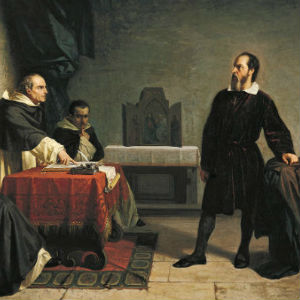 Banti's portrait of Galileo facing the Roman Inquisition.