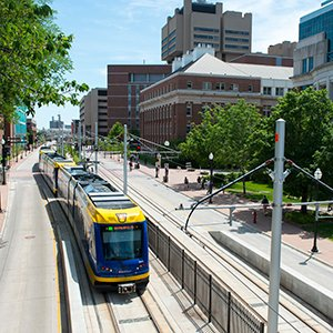Getting around town - light rail train