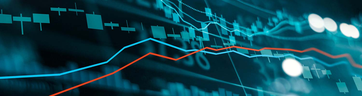 Close up of a stock market trading graph