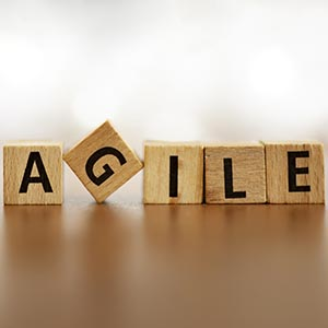 "Scrabble tiles spell out ""Agile"""