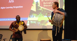 Drumming at social justice event